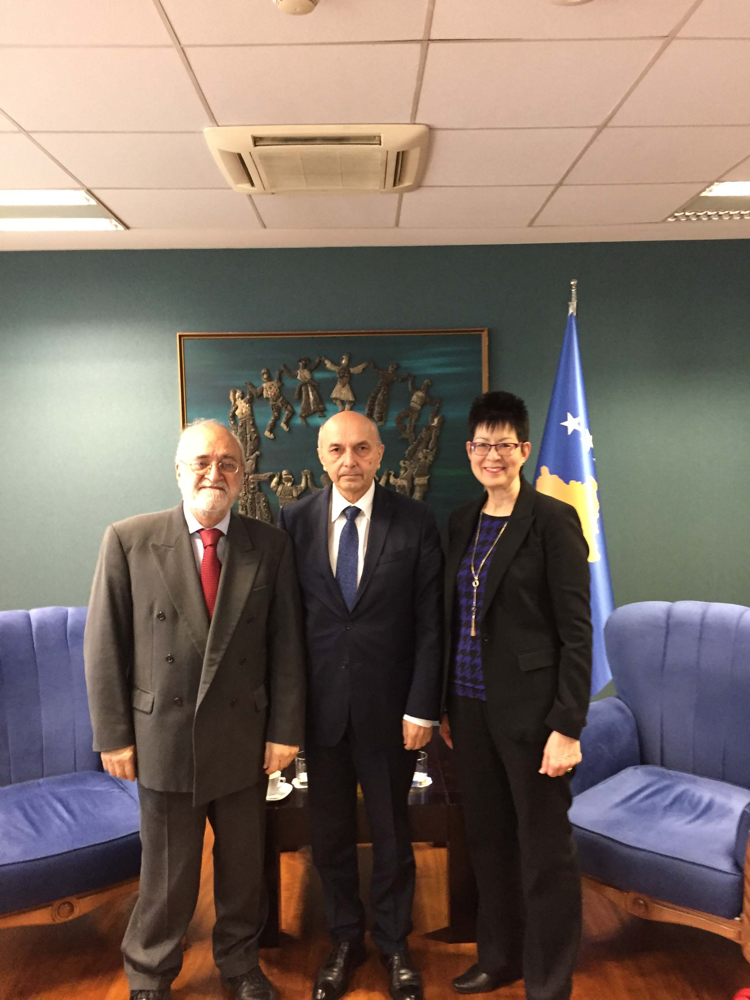 IH & JH with Prof Isa Mustafa (Prime Minister of Kosovo) Mar 17